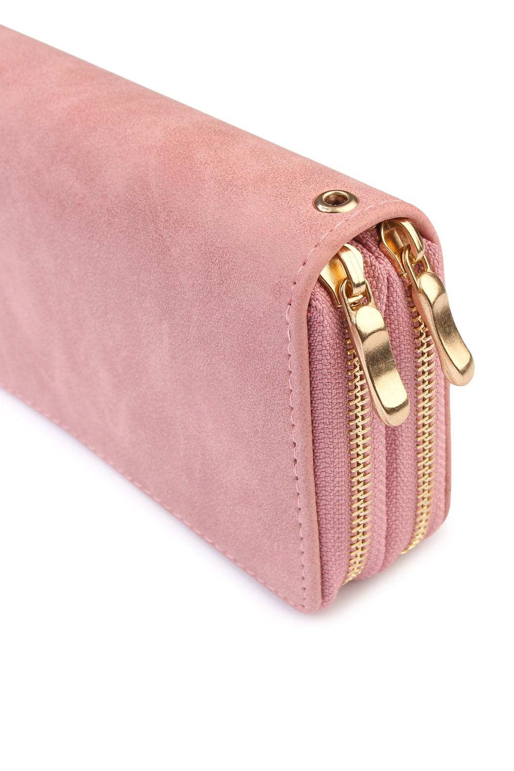 Riah Fashion Stylish Light Pink Wallet - Front Full Image