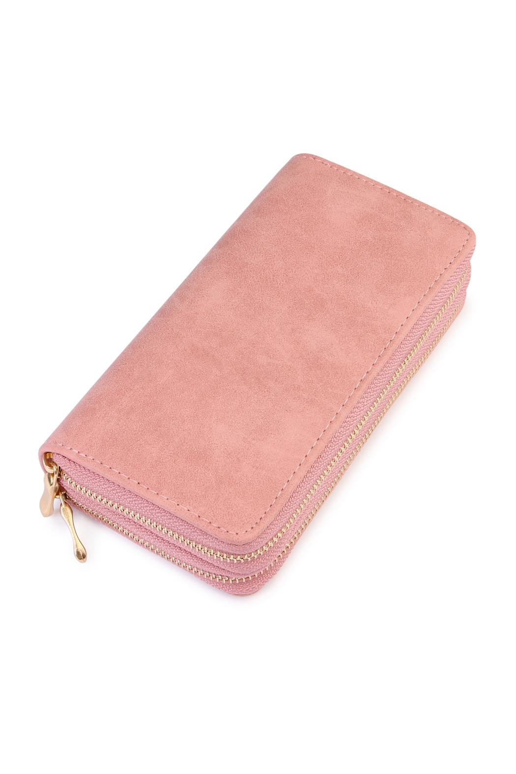 Riah Fashion Stylish Light Pink Wallet - Front Cropped Image