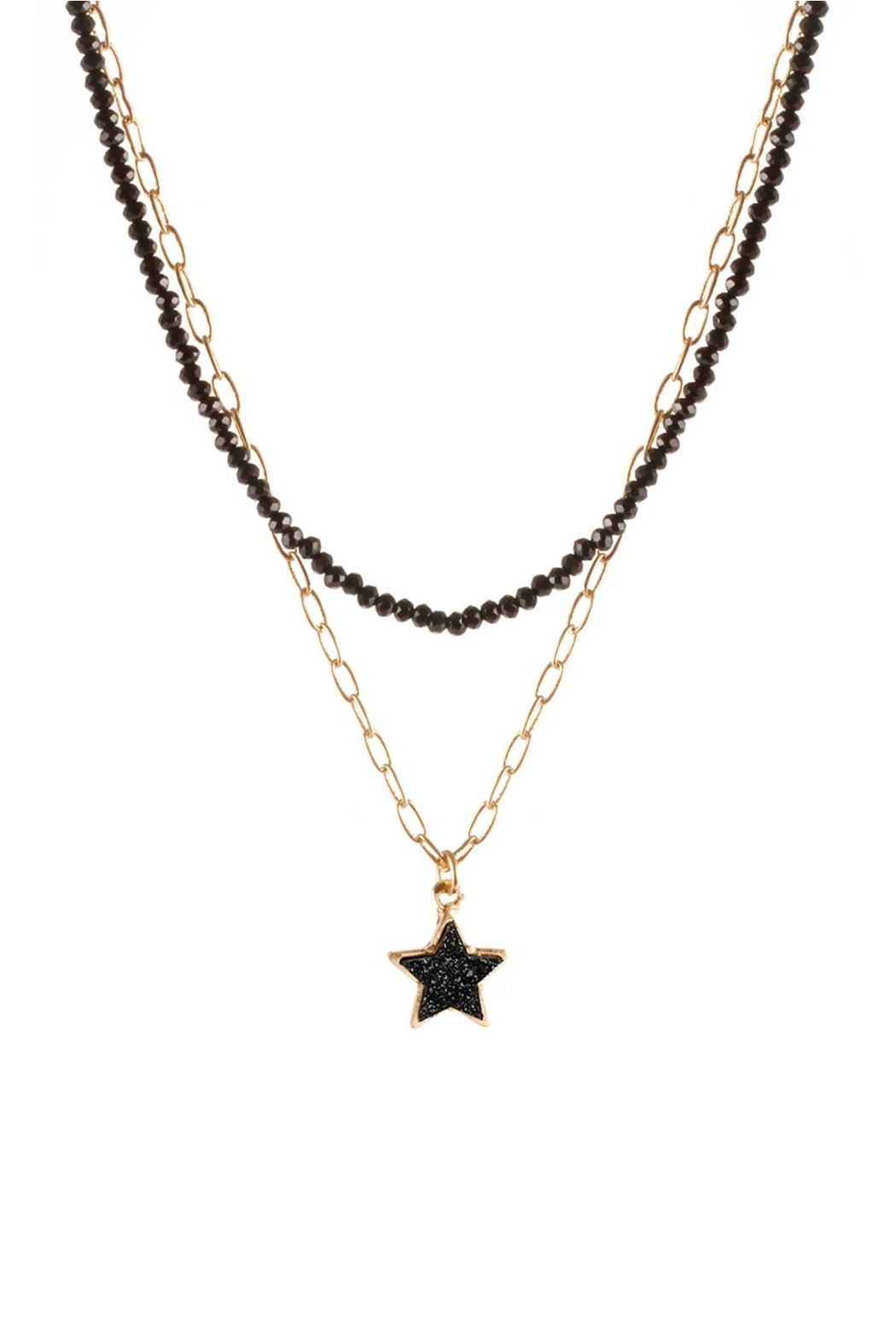 Riah Fashion Druzy Glass Bead Star Link Pendant Necklace - Front Cropped Image