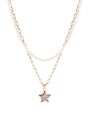 Riah Fashion Druzy Glass Bead Star Link Pendant Necklace - Front cropped