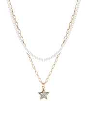 Riah Fashion Druzy Glass Bead Star Link Pendant Necklace - Product Mini Image