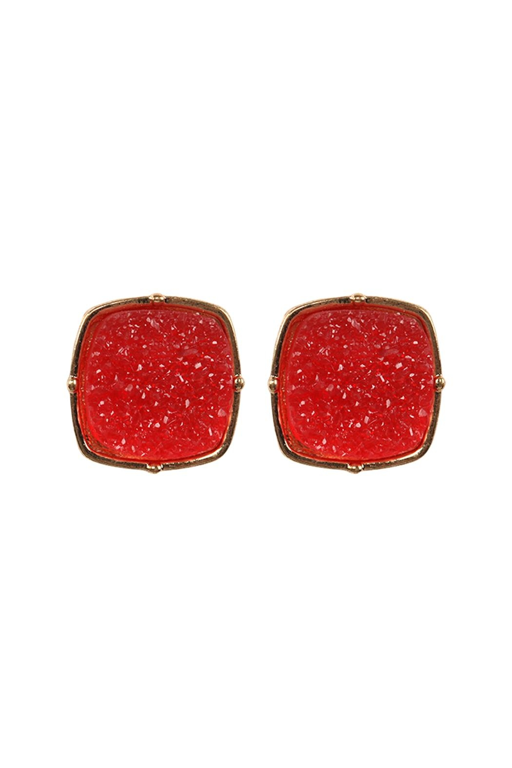 Riah Fashion Druzy-Post-Square-Earrings - Front Cropped Image