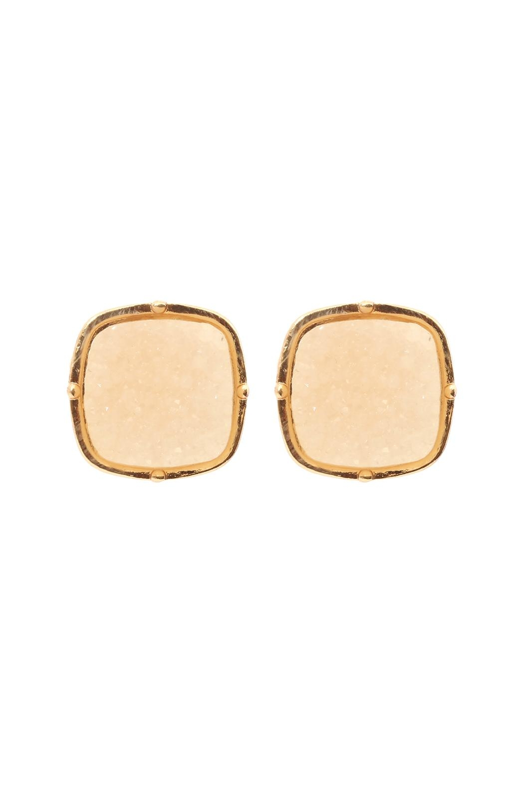 Riah Fashion Druzy-Post-Square Earrings - Front Cropped Image