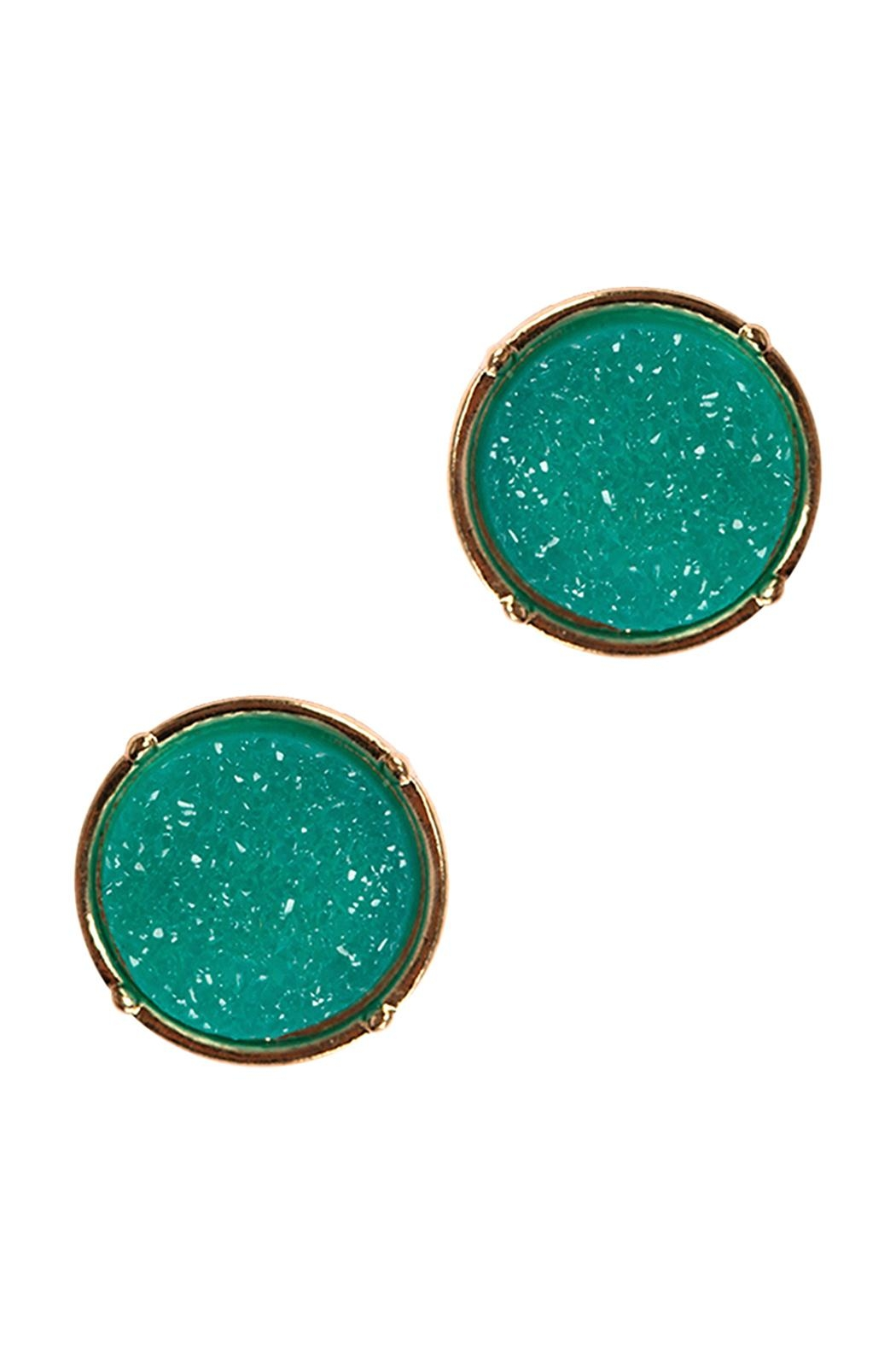Riah Fashion Druzy Round Post Earrings - Front Cropped Image