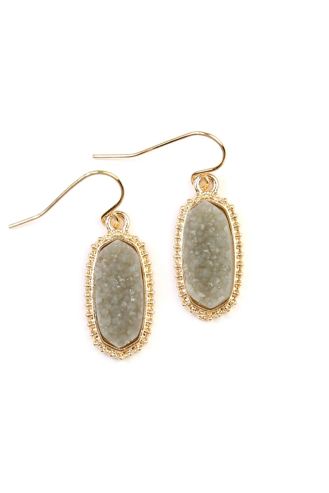 Riah Fashion Druzy-Stone Oval earrings - Front Cropped Image