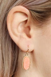 Riah Fashion Druzy-Stone Oval earrings - Front full body