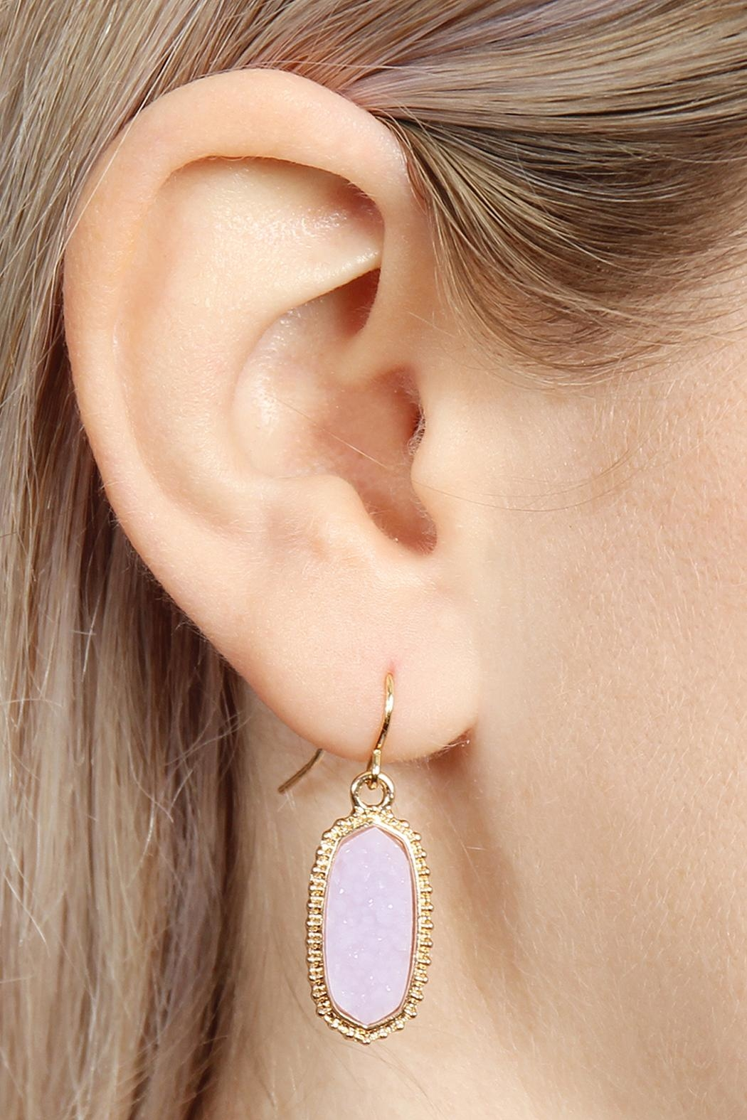 Riah Fashion Druzy-Stone Oval earrings - Front Full Image