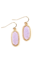 Riah Fashion Druzy-Stone Oval earrings - Front cropped