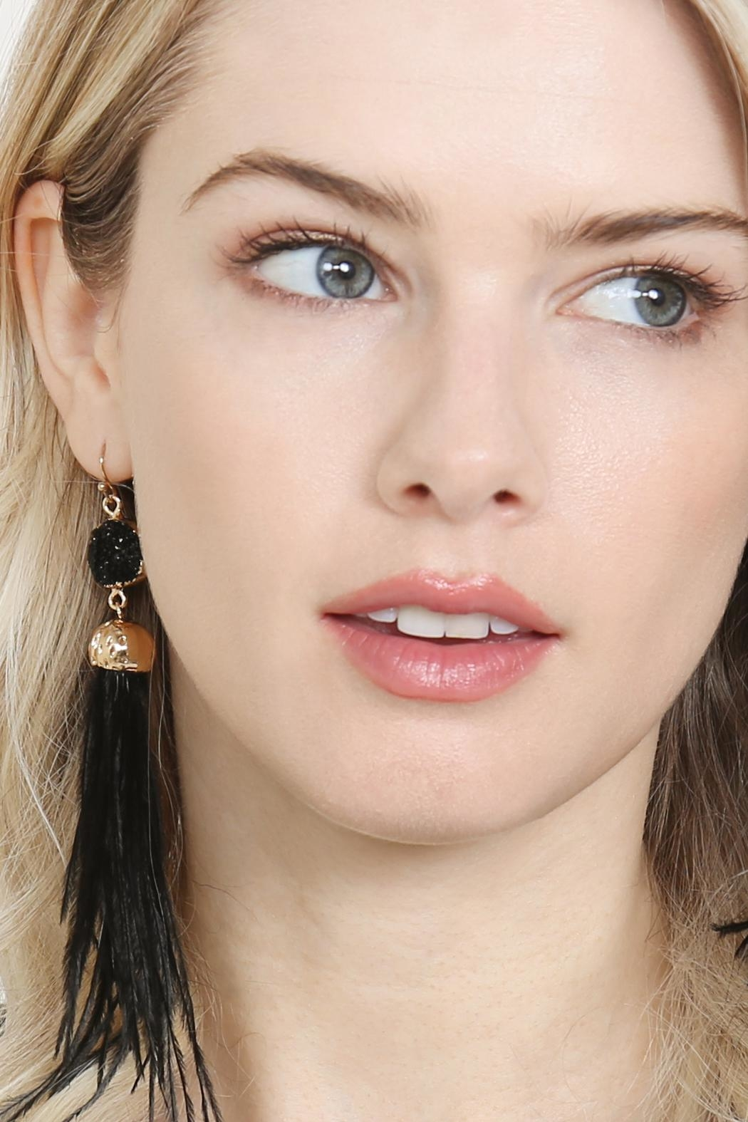 Riah Fashion Druzy-Stone With Dangling-Feather-Earrings - Front Full Image