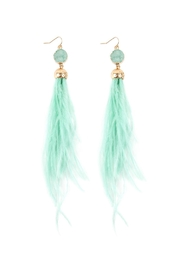 Riah Fashion Druzy-Stone With Dangling-Feather-Earrings - Front cropped