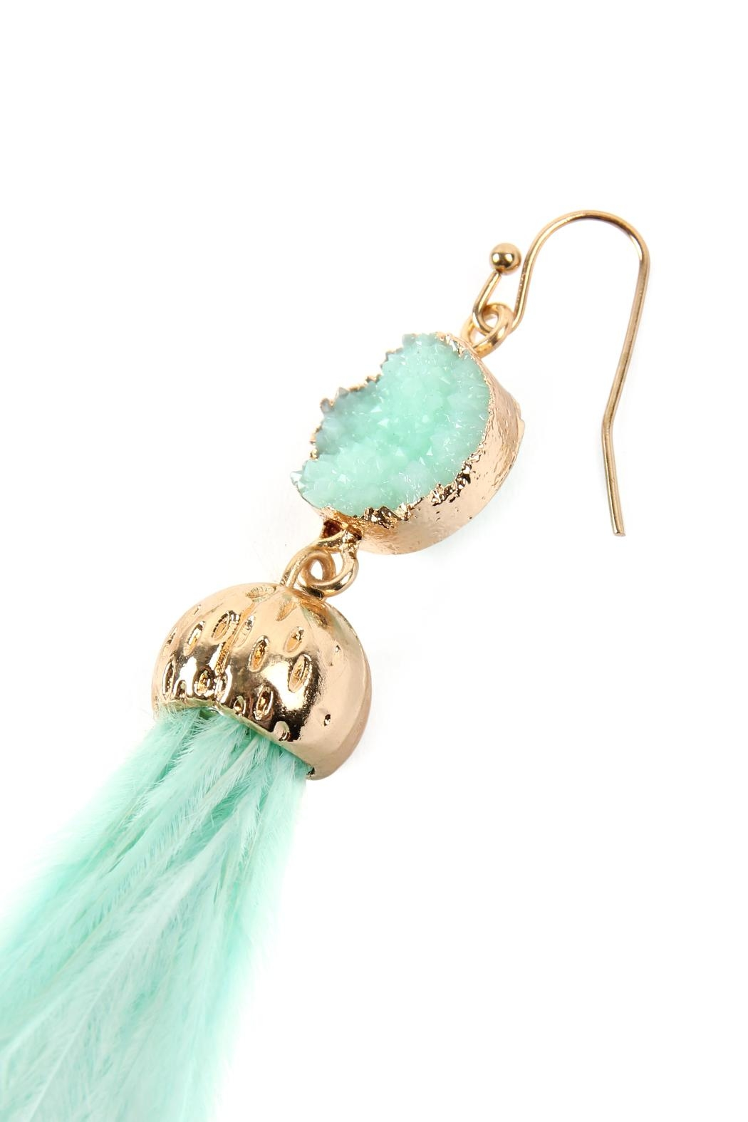Riah Fashion Druzy-Stone With Dangling-Feather-Earrings - Back Cropped Image