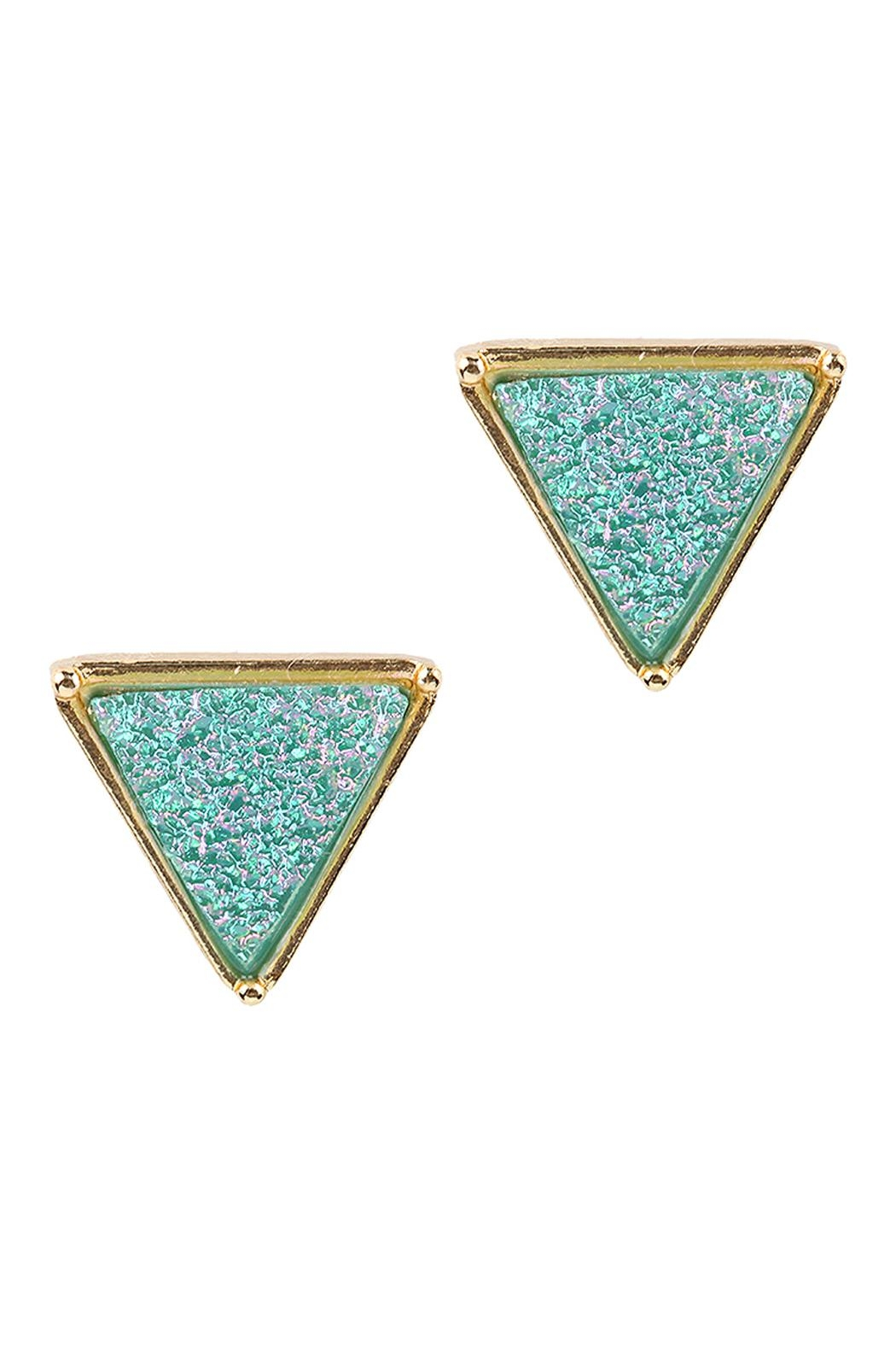 Riah Fashion Druzy Triangle Post Earrings - Front Cropped Image