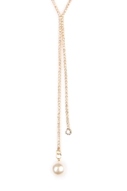 Riah Fashion Dual Chain Necklace - Front full body