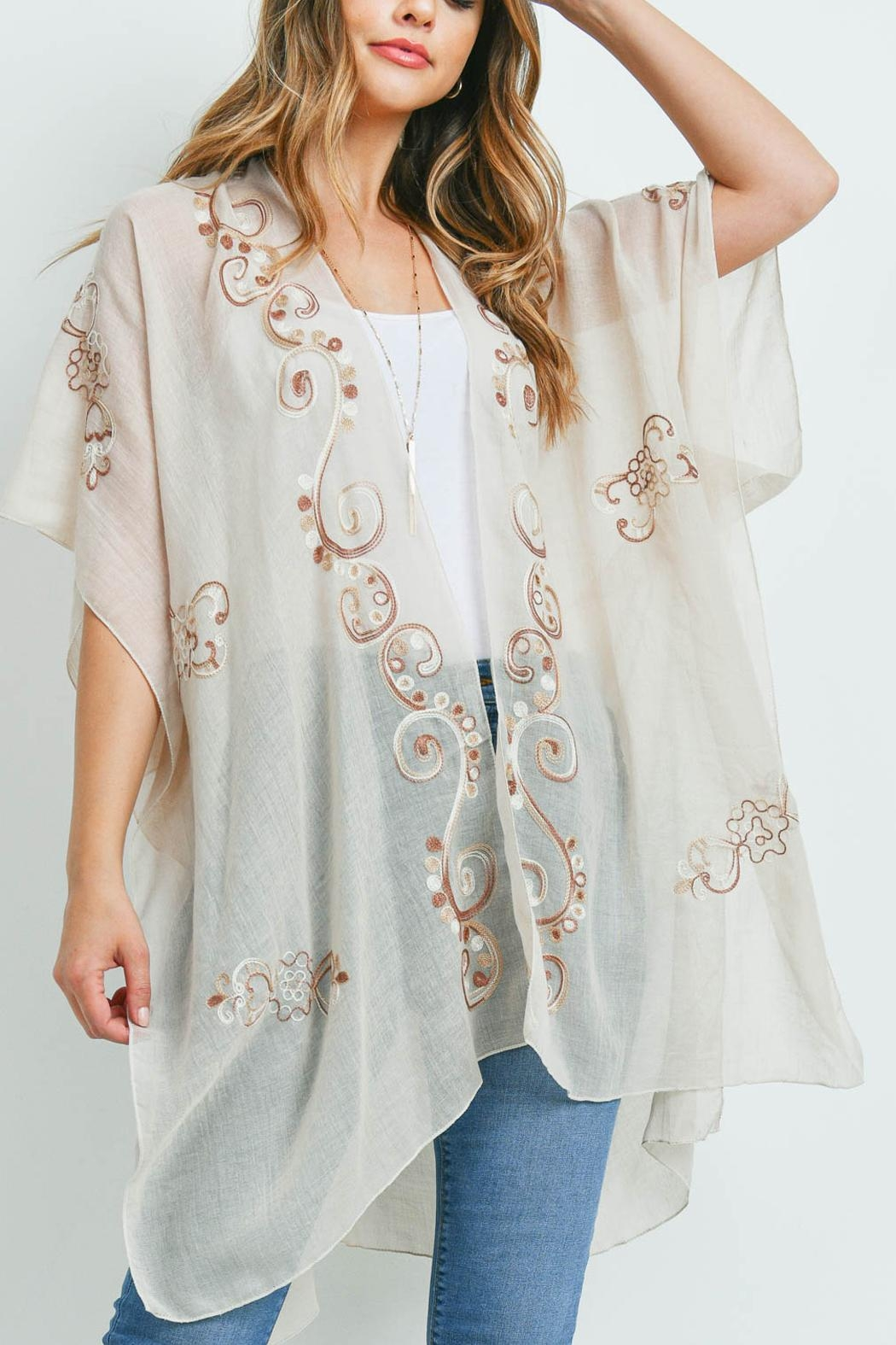 Riah Fashion Eastern Embroidered Kimono - Front Cropped Image