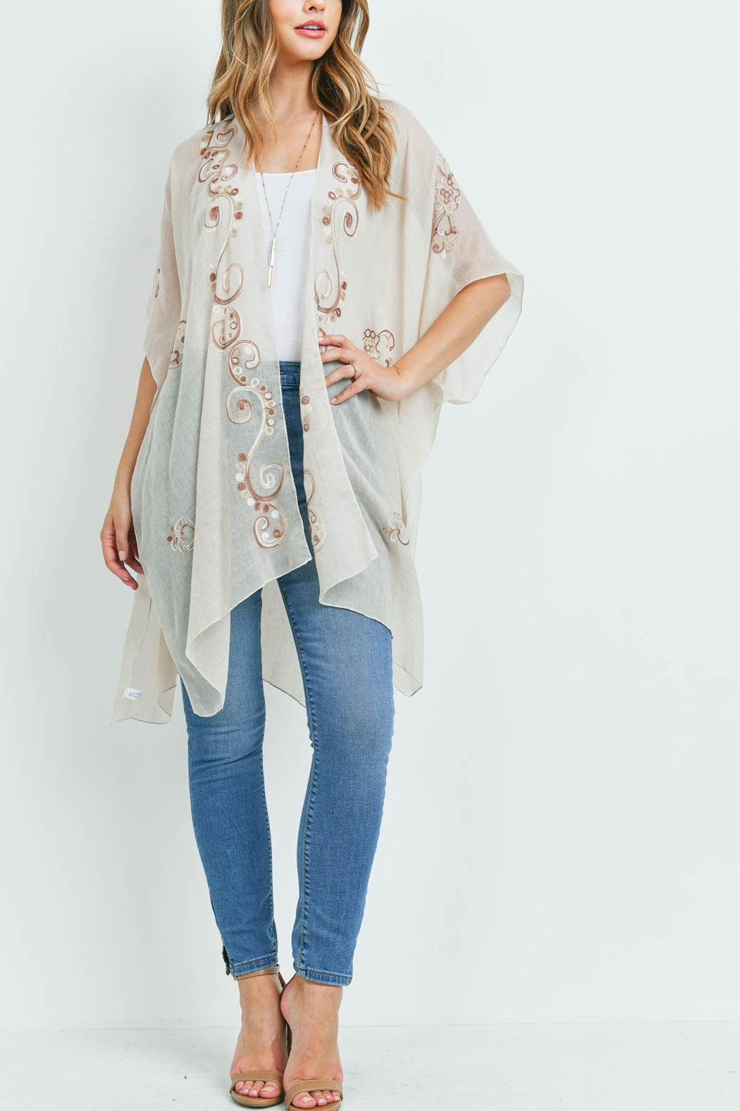 Riah Fashion Eastern Embroidered Kimono - Side Cropped Image