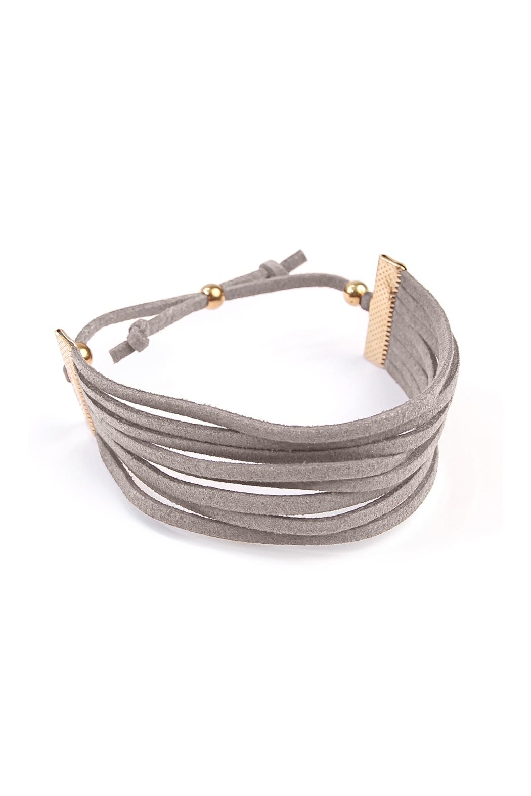 Riah Fashion Eight Strand Leather Bracelet - Front Full Image