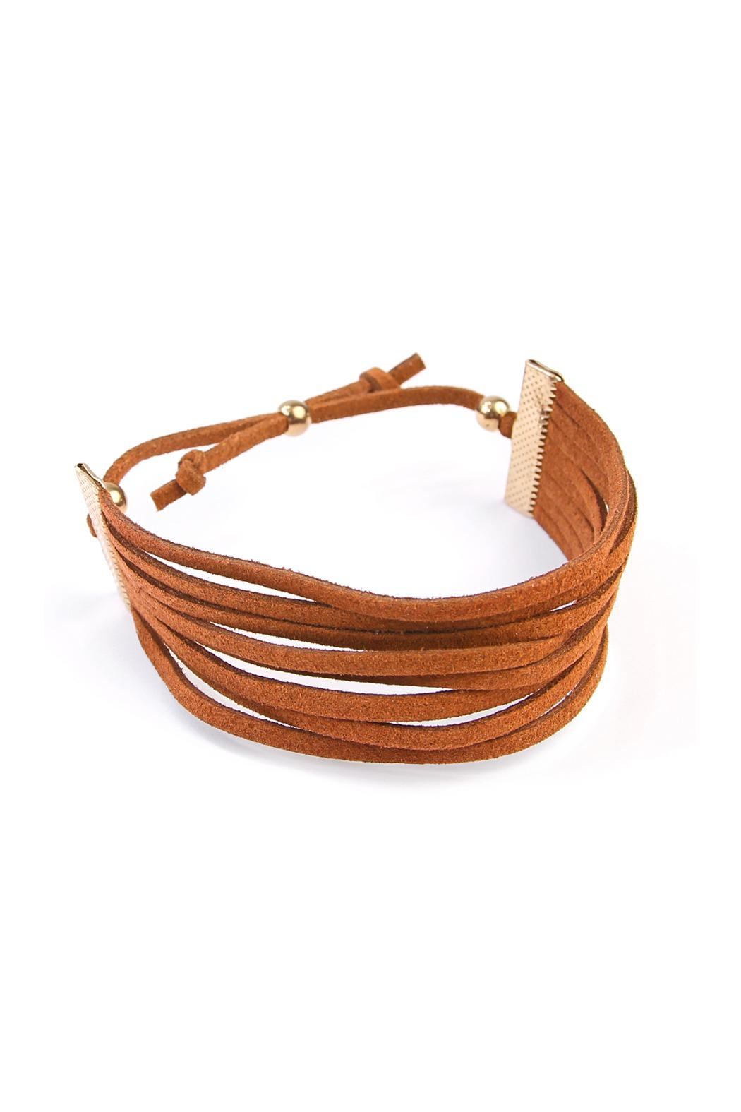 Riah Fashion Eight Strand Leather Bracelet - Front Cropped Image