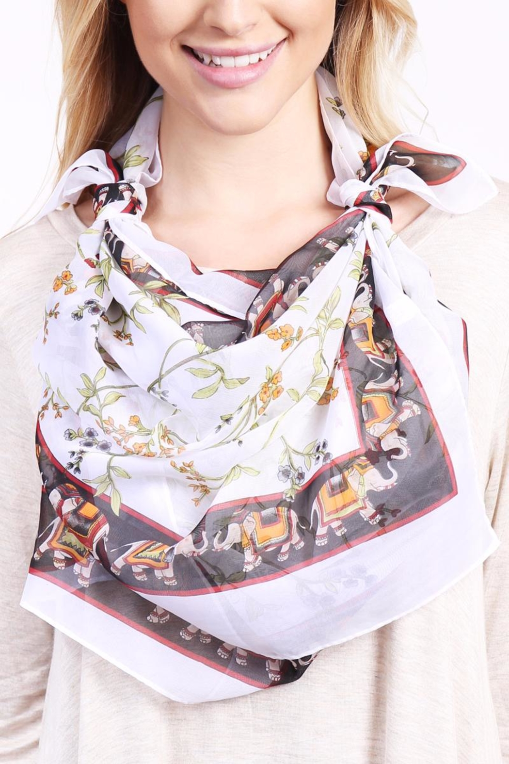 Riah Fashion Elephant Border Oblong Scarf - Side Cropped Image