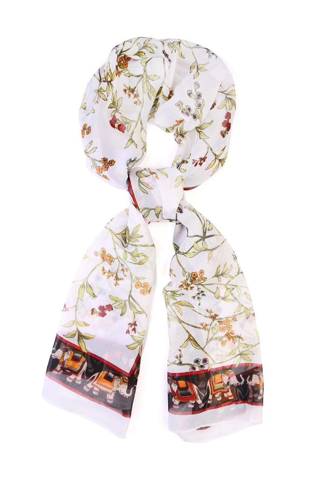 Riah Fashion Elephant Border Oblong Scarf - Main Image