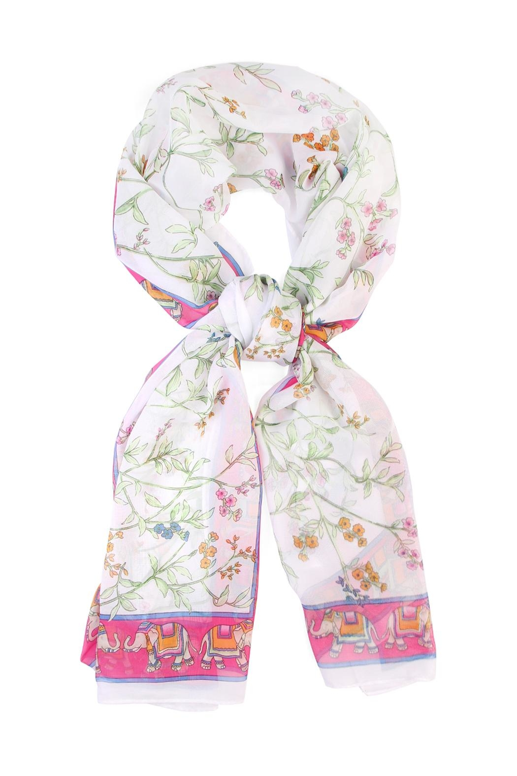 Riah Fashion Elephant Border Oblong Scarf - Front Cropped Image