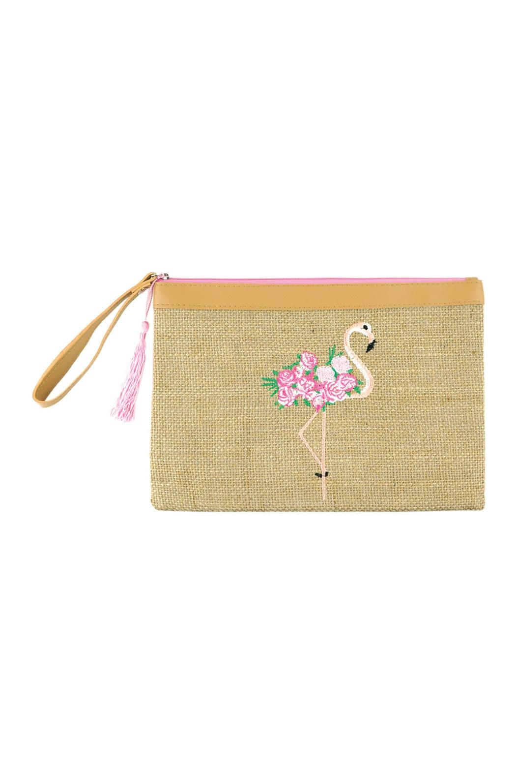 Riah Fashion Embroidered Flamingo Pouch - Main Image