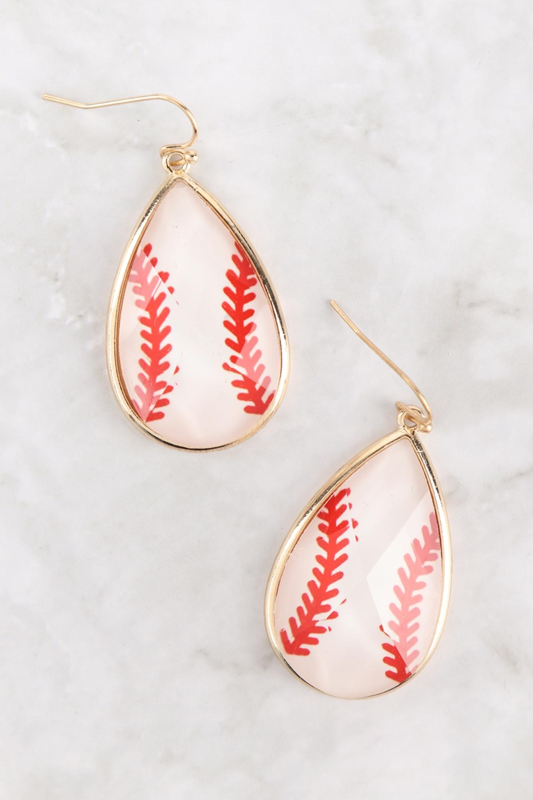 Riah Fashion Epoxy-Sports-Gameday-Fish-Hook-Earrings - Front Full Image
