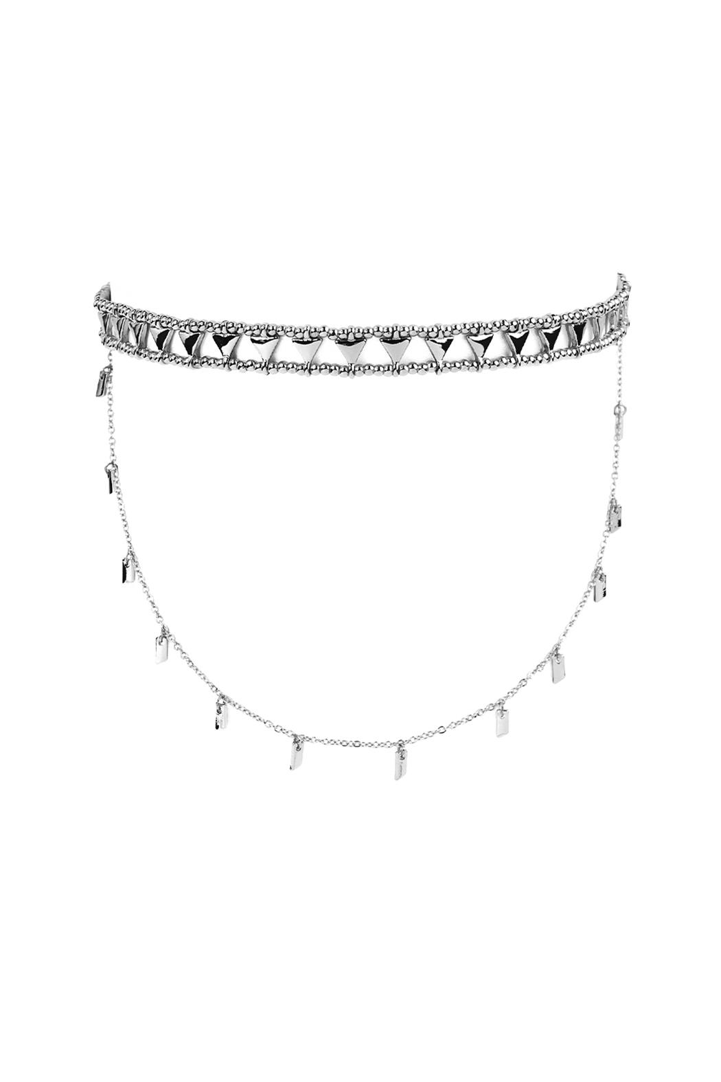 Riah Fashion Etched Beaded Layered Choker - Front Cropped Image