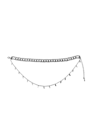 Riah Fashion Etched Beaded Layered Choker - Front full body