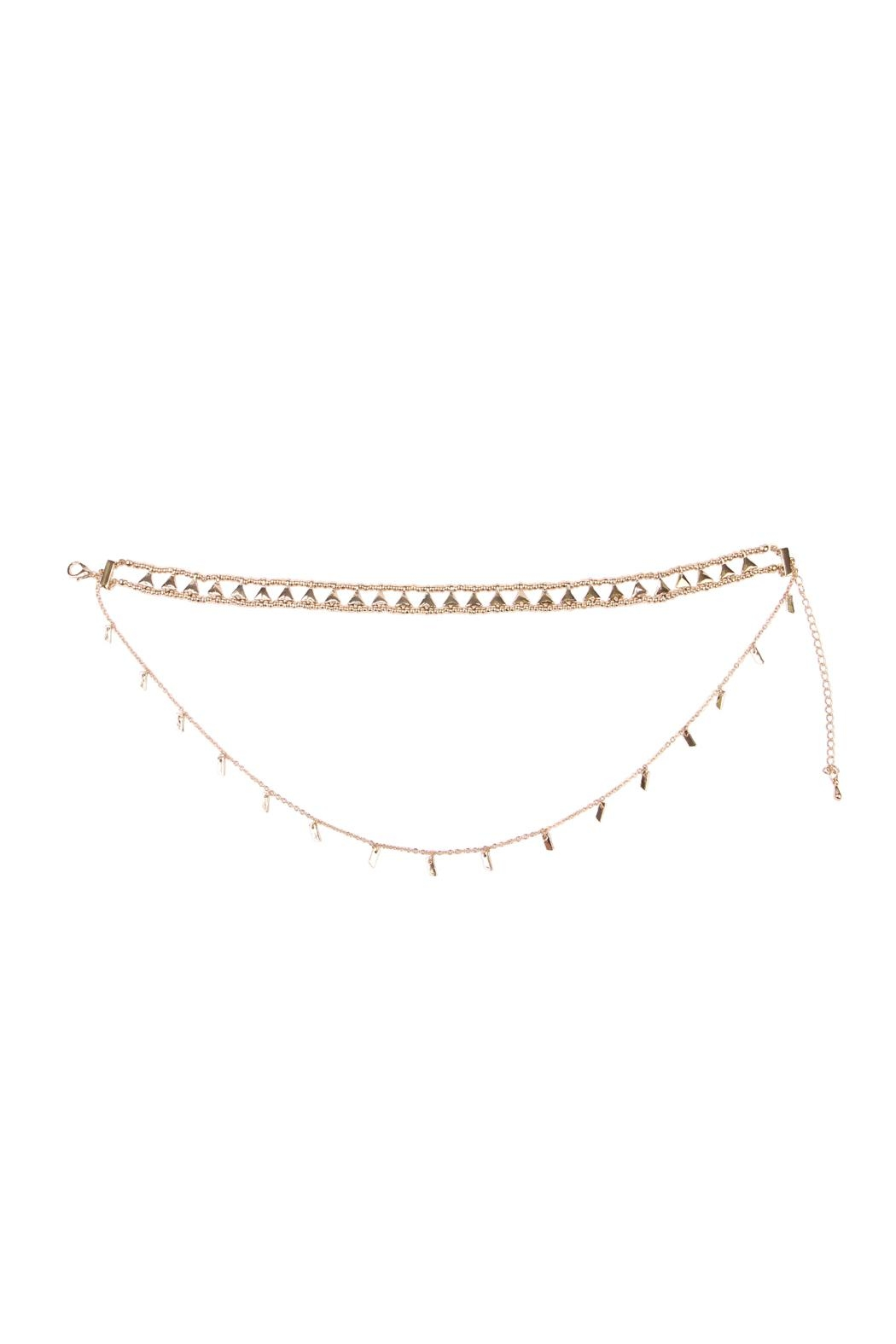 Riah Fashion Etched Beaded Layered Choker - Front Full Image