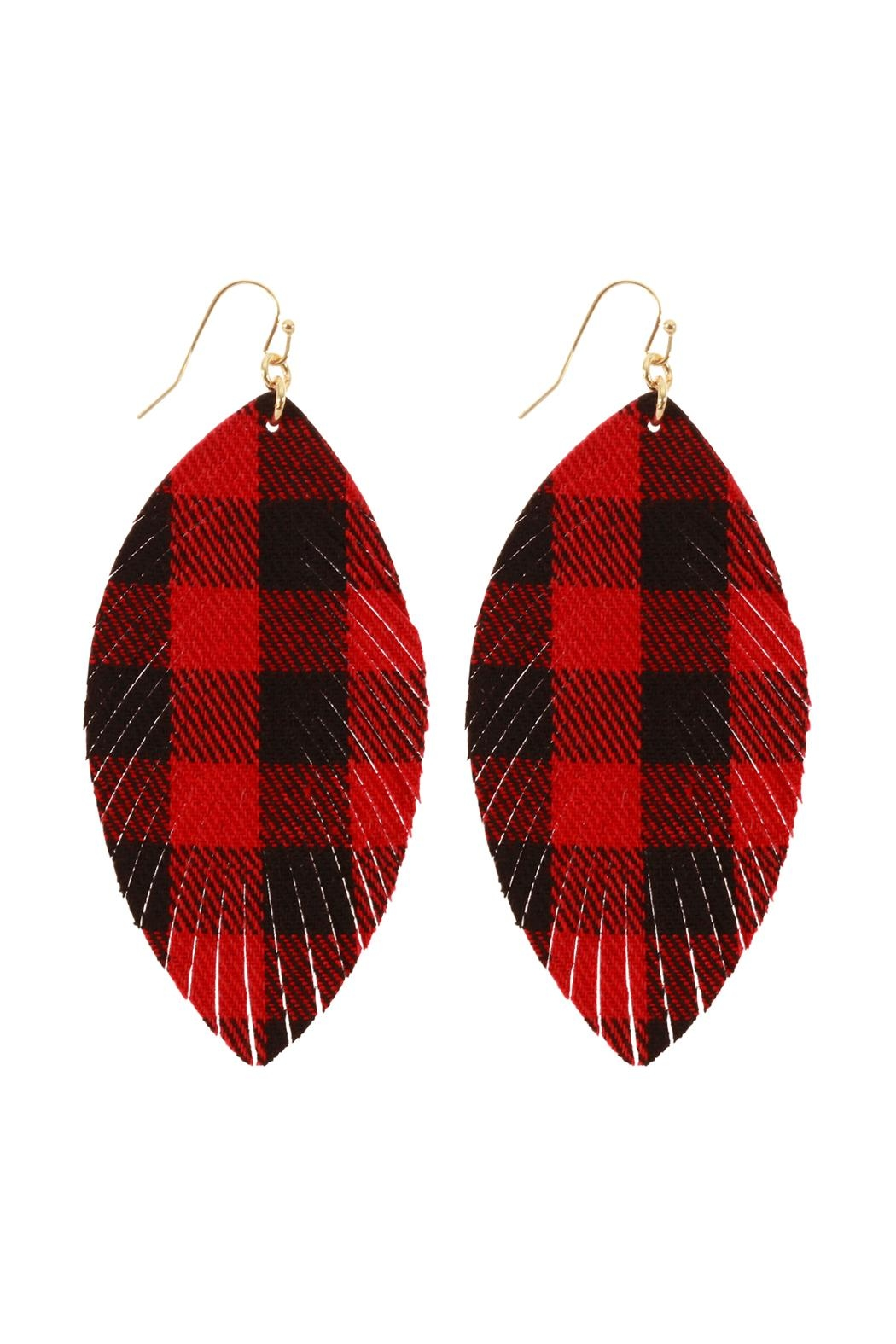 Riah Fashion Fabric-Check Fish-Hook Fringe-Earrings - Front Cropped Image