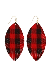 Riah Fashion Fabric-Check Fish-Hook Fringe-Earrings - Front cropped