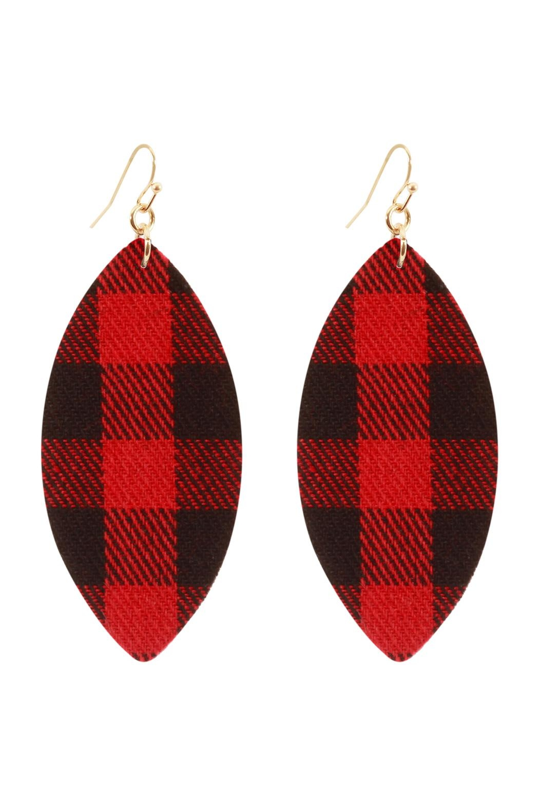 Riah Fashion Fabric-Check Fish-Hook Marquise-Earrings - Front Cropped Image