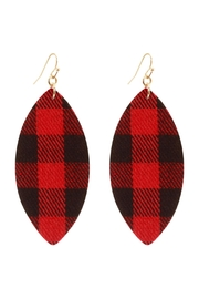 Riah Fashion Fabric-Check Fish-Hook Marquise-Earrings - Front cropped