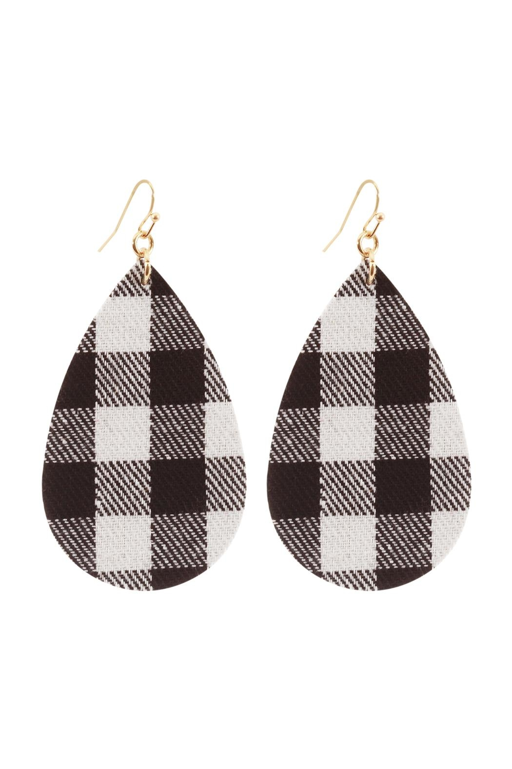 Riah Fashion Fabric-Check Fish-Hook Teardrop-Earrings - Front Cropped Image