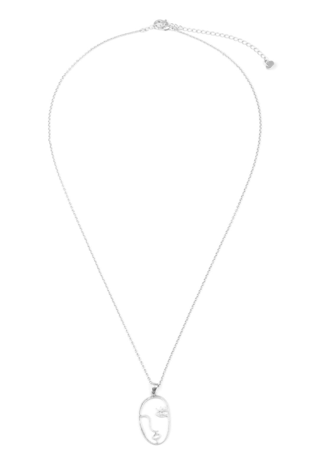 Riah Fashion Face Pendant Necklace - Front Cropped Image