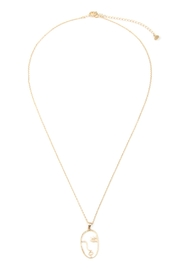 Riah Fashion Face Pendant Necklace - Front cropped