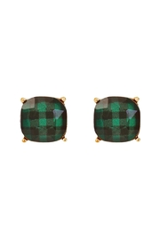 Riah Fashion Faceted Buffalo Checkered-Post-Earrings - Product Mini Image