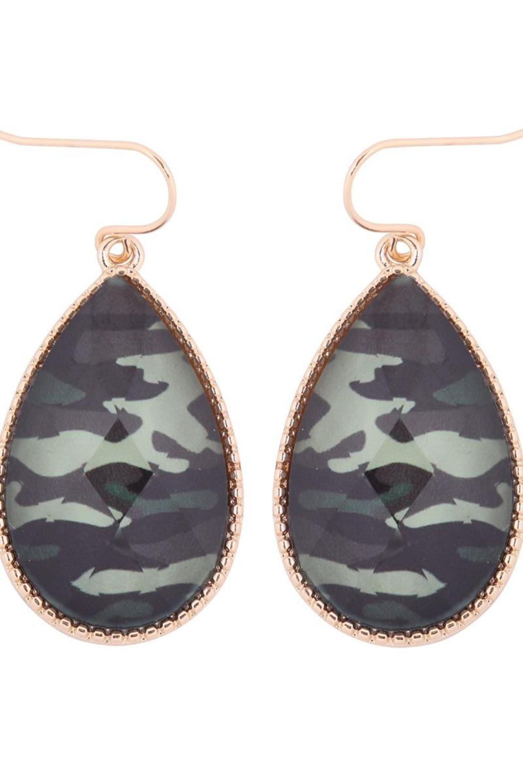 Riah Fashion Faceted -Glittery -Teardrop-Earrings - Front Full Image