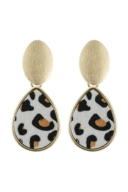 Riah Fashion Faceted Leopard Pear Shape Link Post Earrings - Product Mini Image