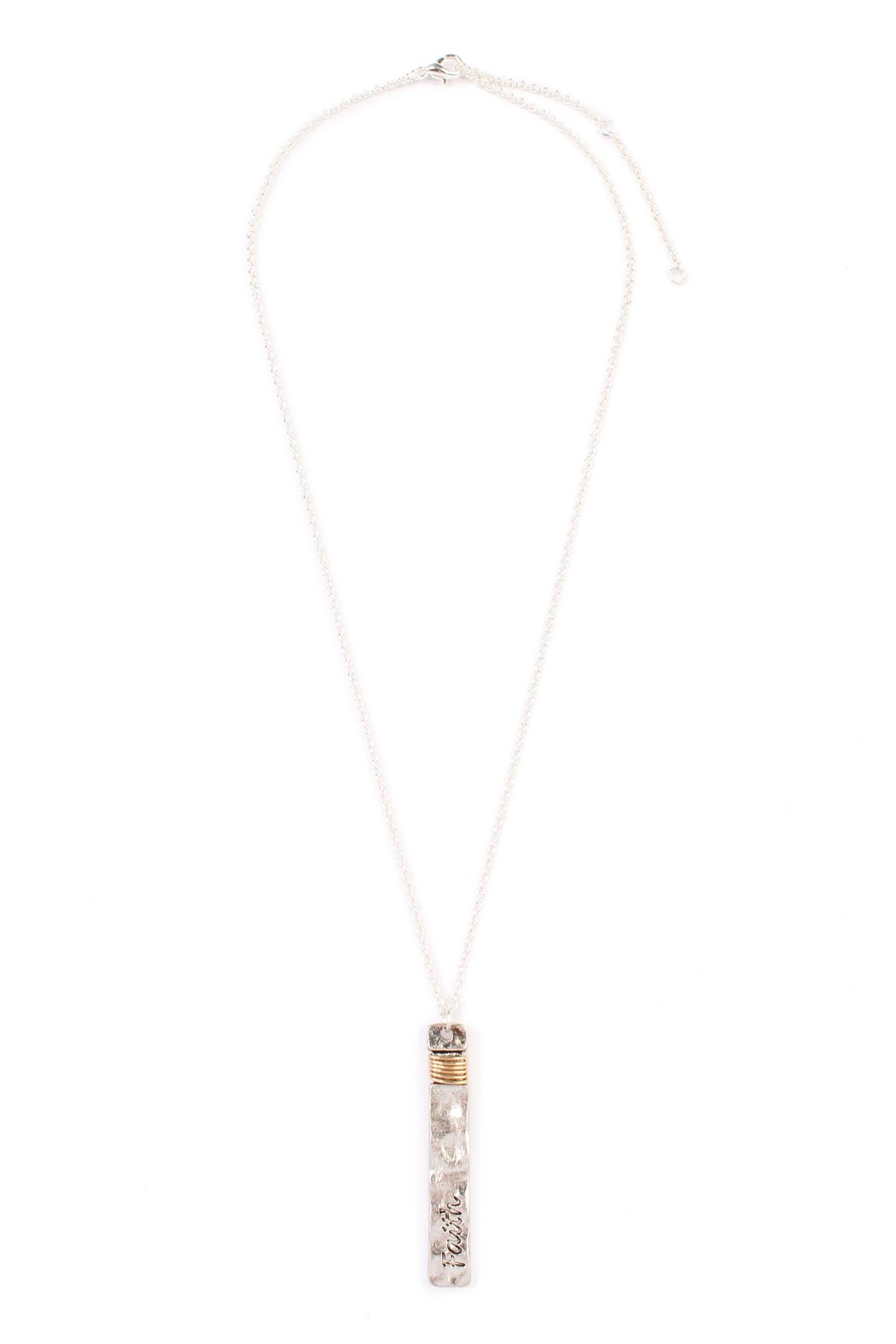 Riah Fashion Faith Bar Necklace - Front Cropped Image
