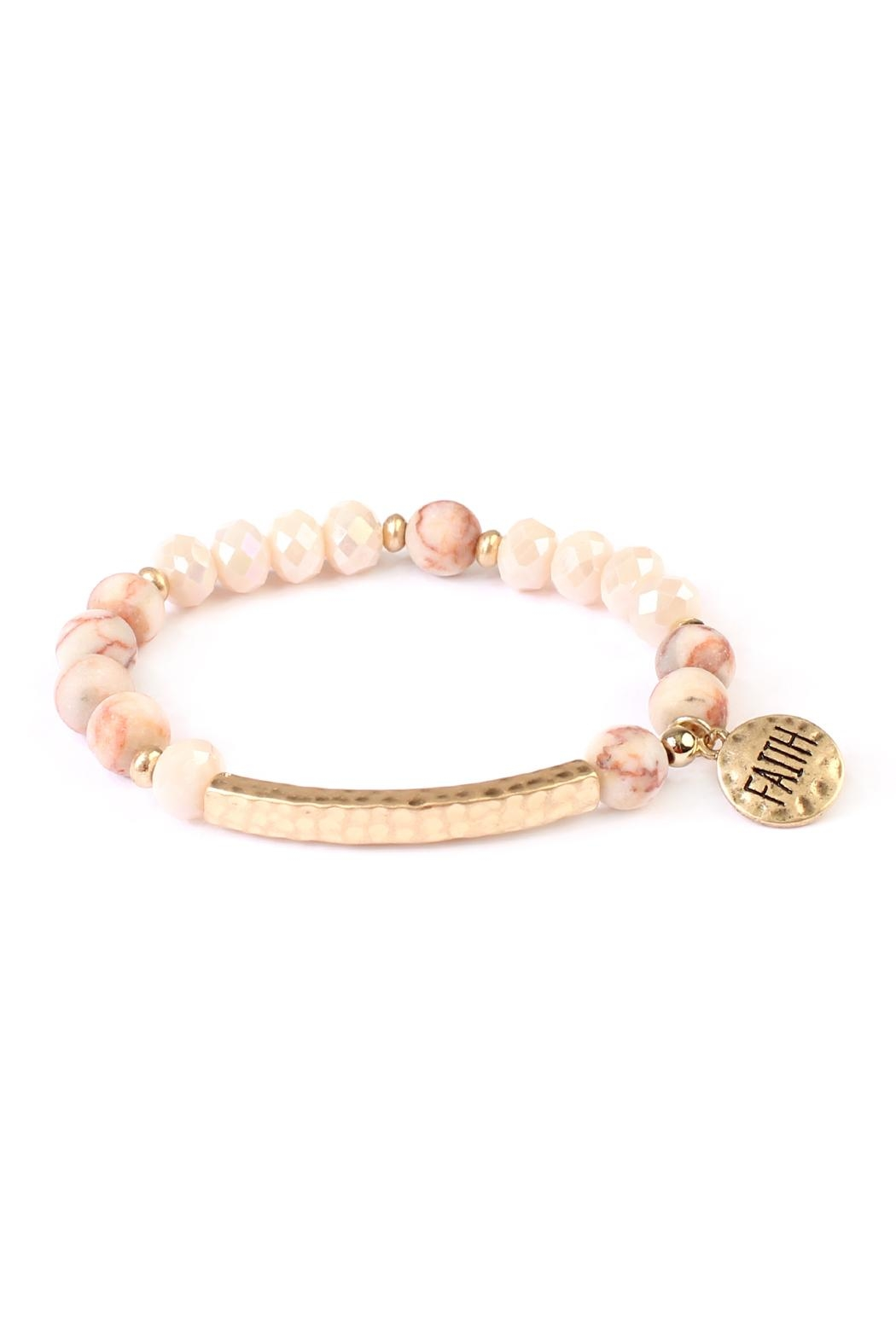 Riah Fashion Faith-Charm Natural Stone-Bracelet - Front Cropped Image