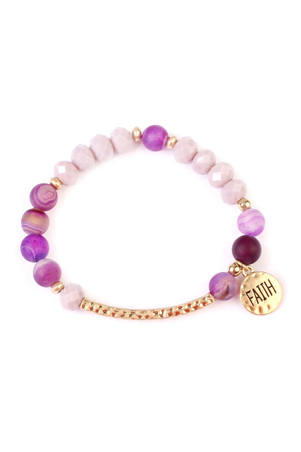 Riah Fashion Faith-Charm Natural Stone-Bracelet - Front Full Image
