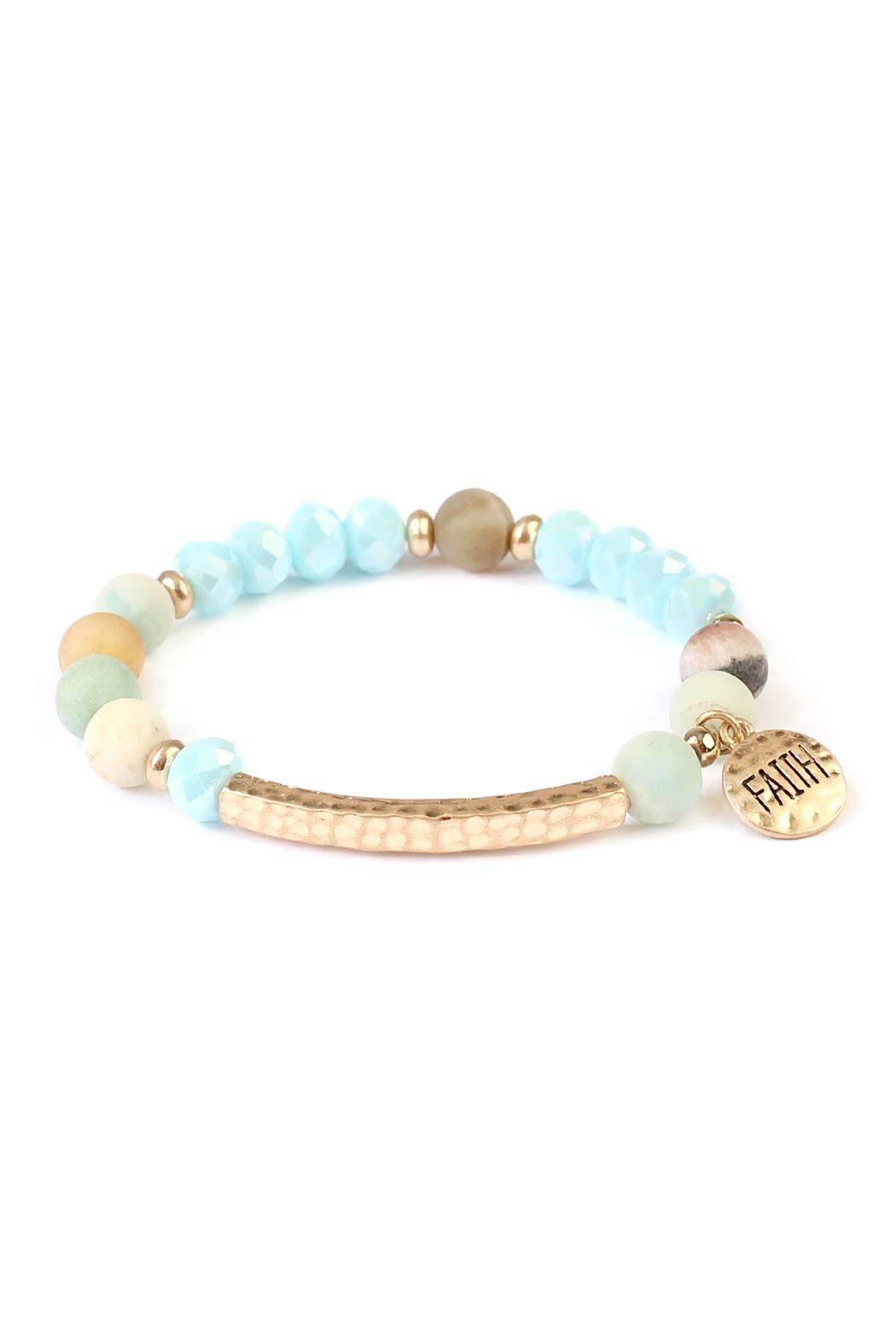 Riah Fashion Faith-Charm Natural Stone-Bracelet - Main Image