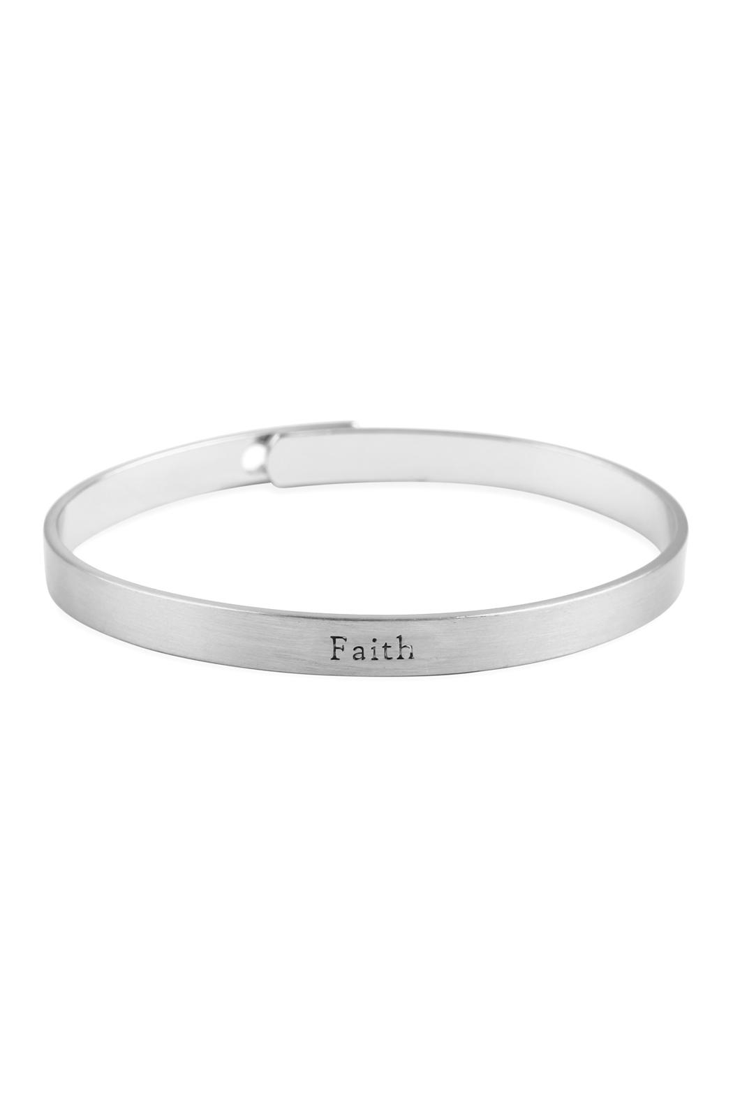Riah Fashion Faith Inspiration Metal-Cuff-Bracelet - Front Cropped Image