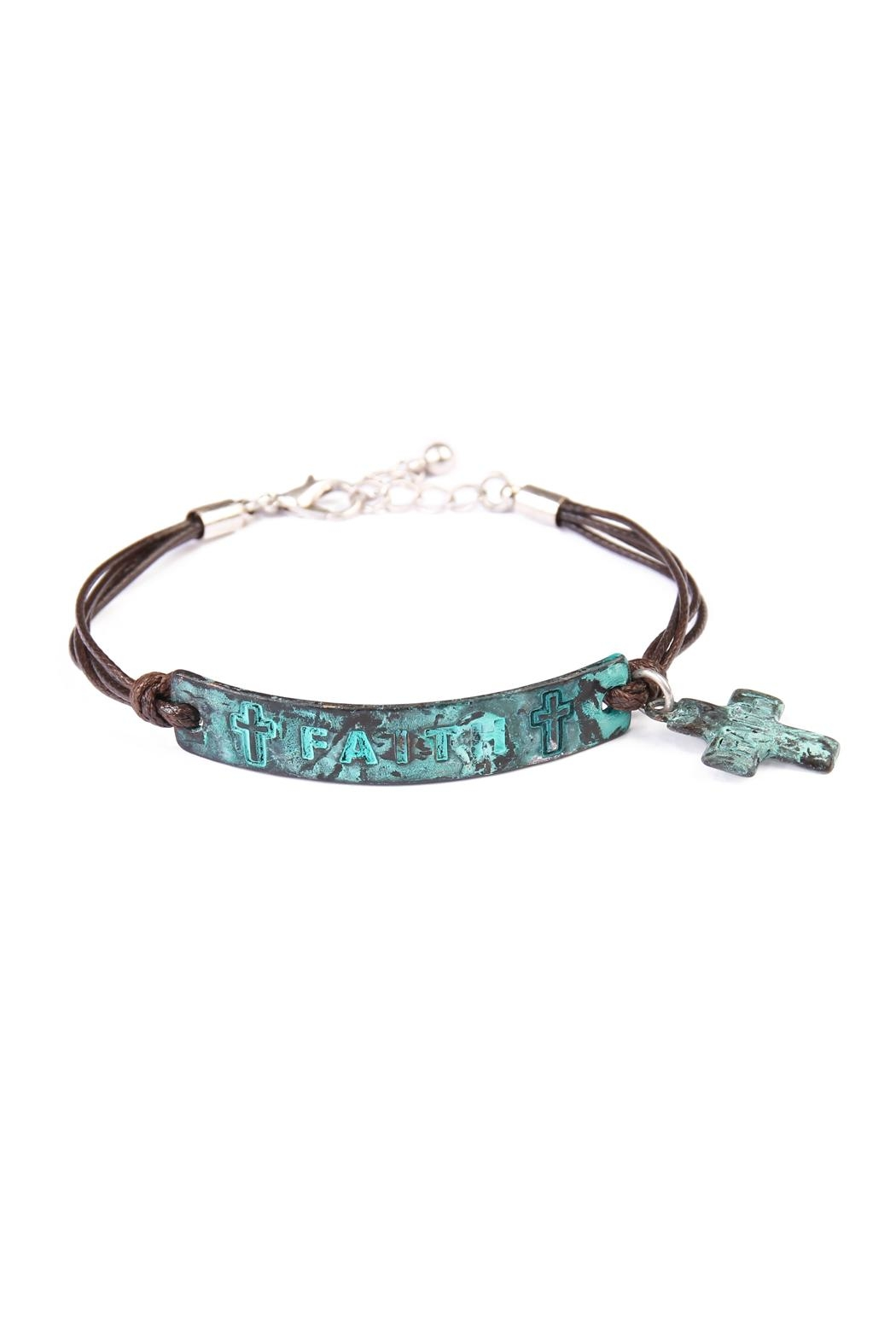 Riah Fashion Faith Plate Charm Bracelet - Front Cropped Image