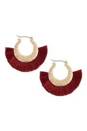 Riah Fashion Fan-Tassel With-Metal Hammered-Hoop-Earrings - Product Mini Image