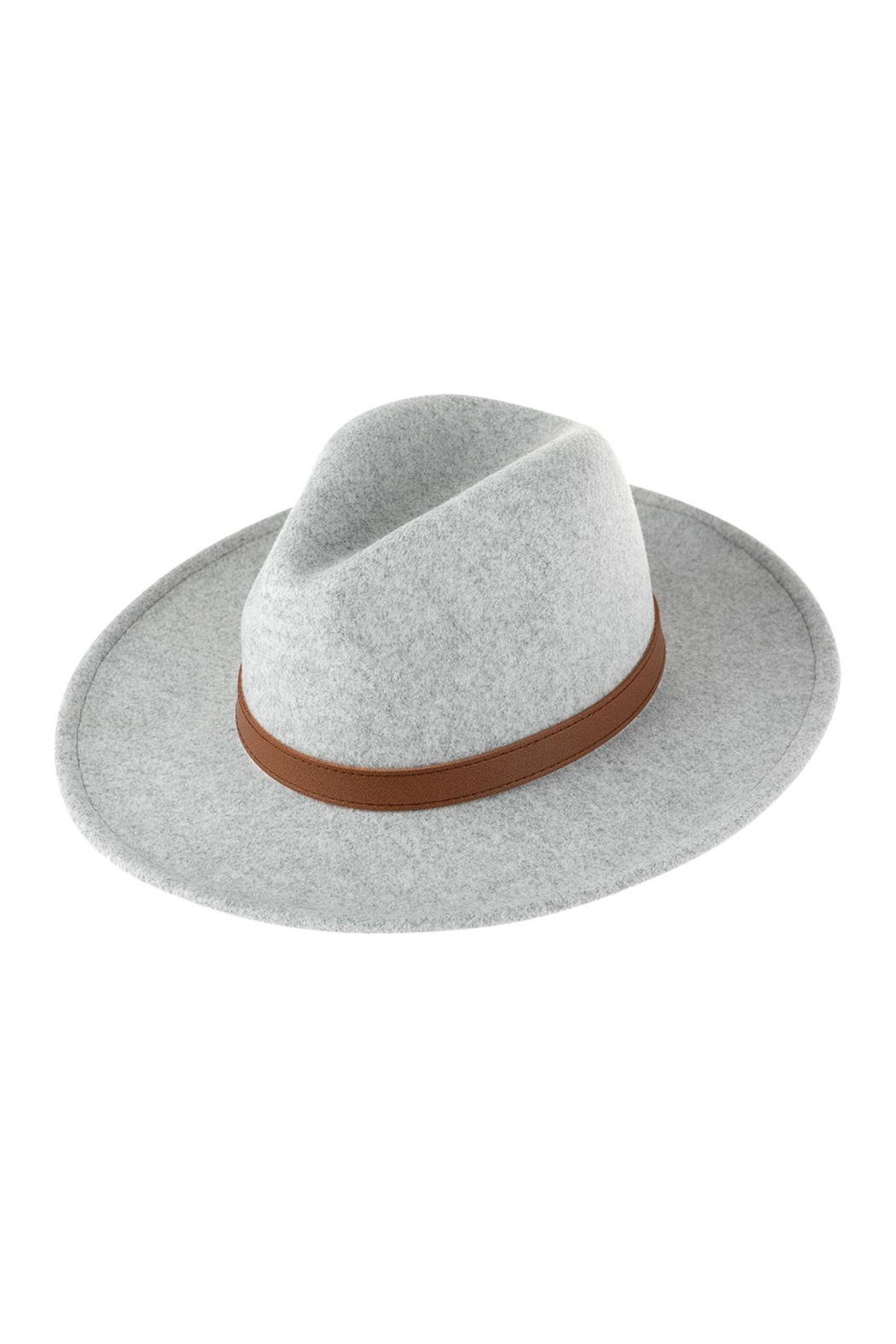 Riah Fashion Fashion Hat With Leather Belt Accent - Front Full Image
