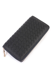 Riah Fashion Dark Grey Weaved Wallet - Product Mini Image
