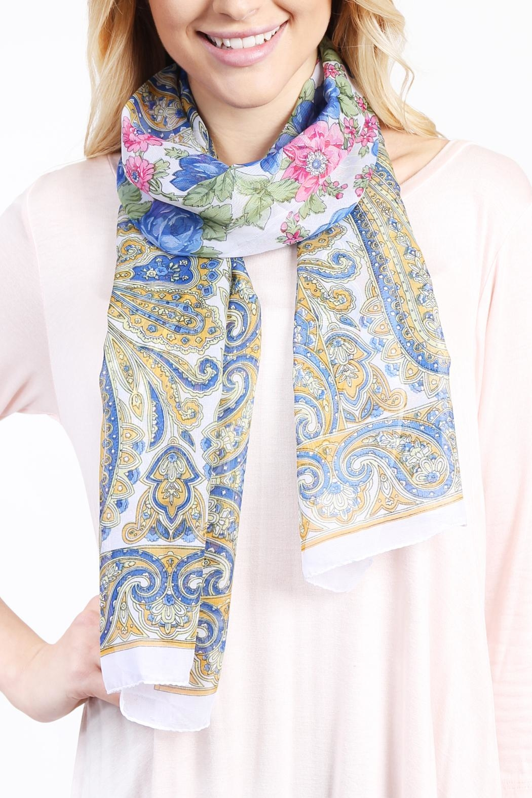 Riah Fashion Fashionable Rose Scarf - Side Cropped Image