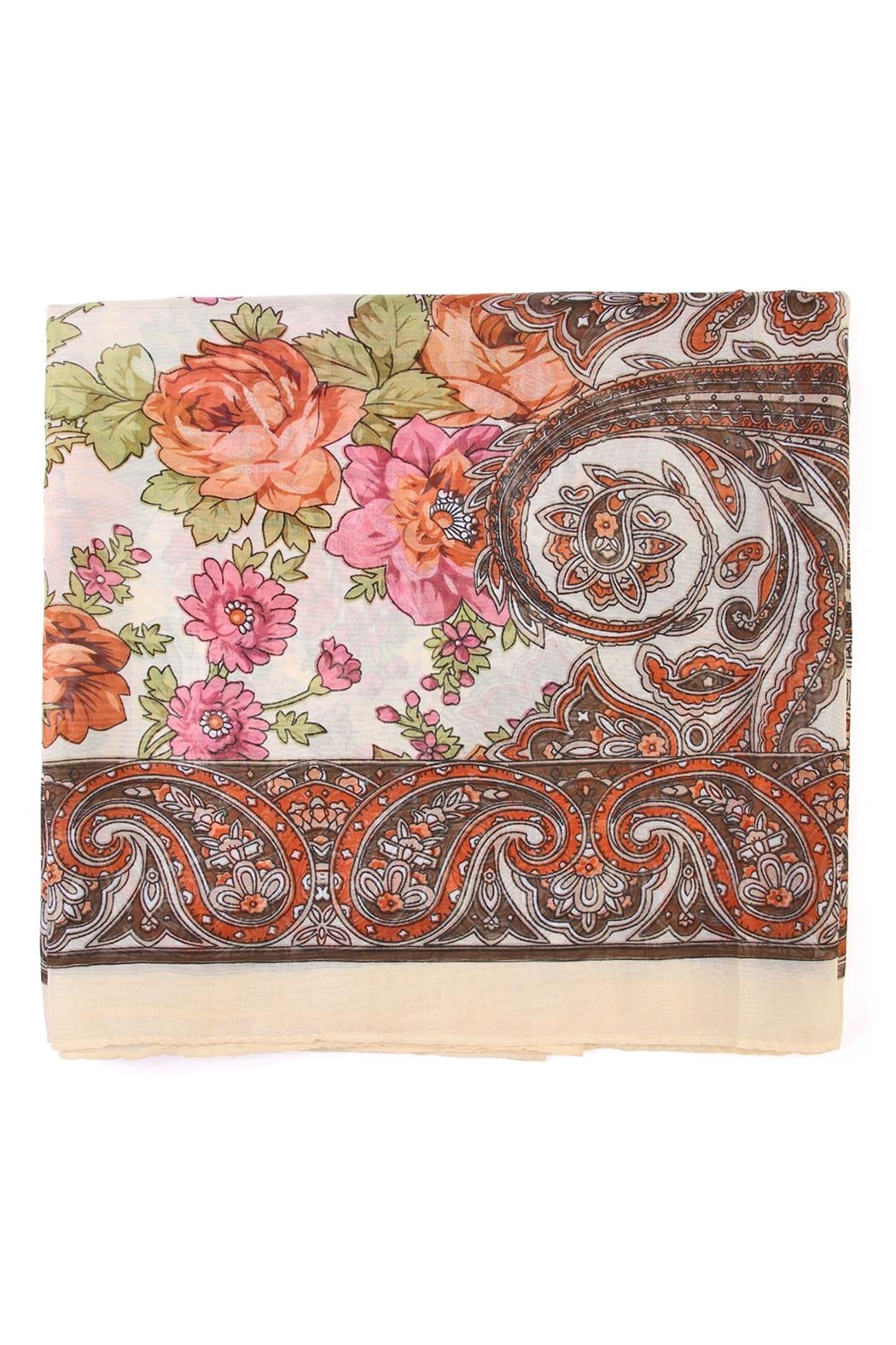 Riah Fashion Fashionable Rose Scarf - Front Full Image